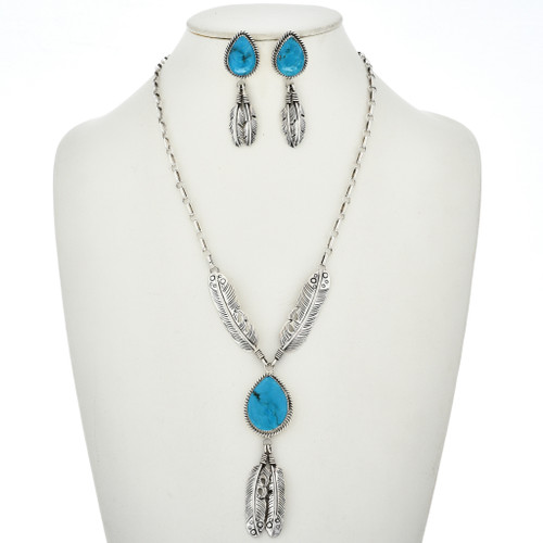 Turquoise Silver Feather Necklace Set 27559