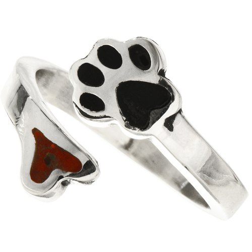 Coral Black Silver Navajo Ring 28768