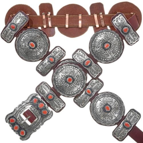 Navajo Coral Silver Concho Belt 24548