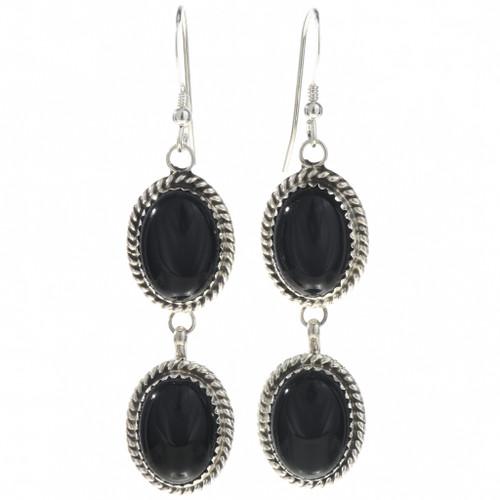 Black Onyx Silver Navajo Earrings 29068