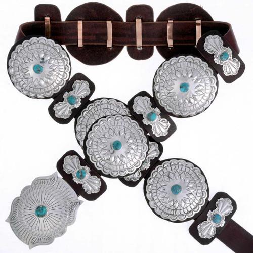 Birdseye Kingman Turquoise Concho Belt 16835