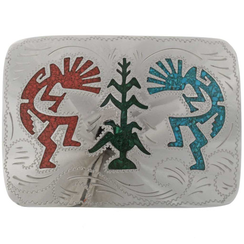 Inlaid Turquoise Silver Belt Buckle 22460