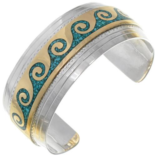 Silver Turquoise Gold Bracelet 13225
