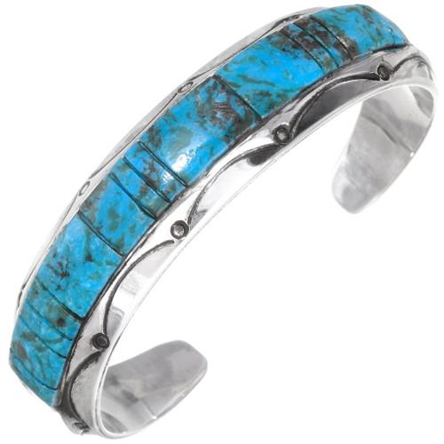Navajo Raised Turquoise Inlay Bracelet 27763