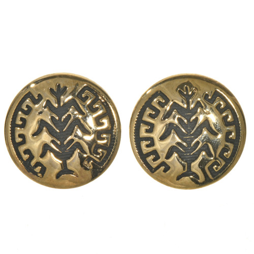 Navajo Gold Cornstalk Post Earrings 2796