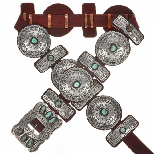 Navajo Turquoise Silver Concho Belt 29618