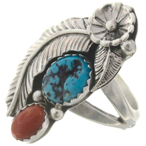 Pretty Navajo Turquoise Coral Ring 26441