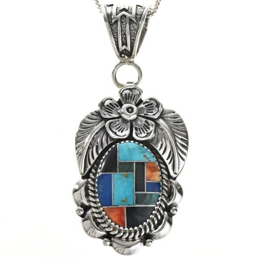 Inlaid Turquoise Lapis Malachite  Pendant 29043