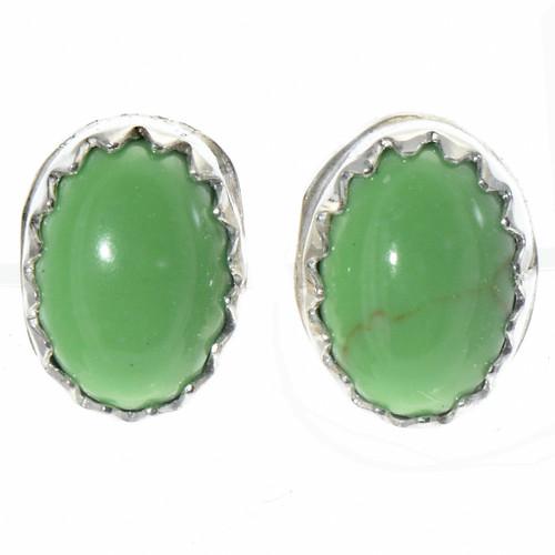 Gaspeite Green Stud Earrings 28457