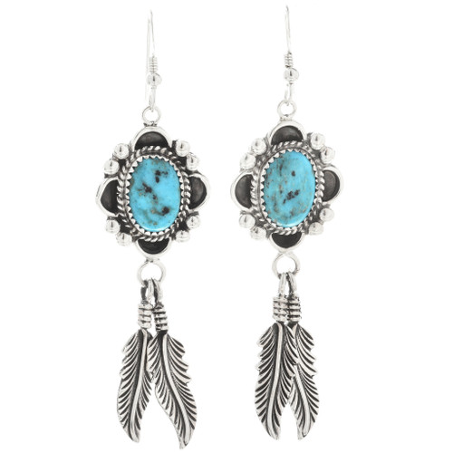 Navajo Kingman Turquoise Feather Earrings 26941