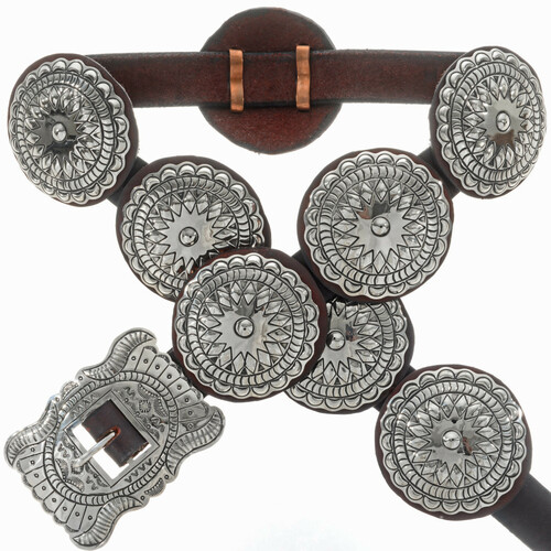Native American Silver Concho Belt 28949