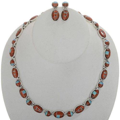 Inlaid Apple Coral Opal Silver Necklace Set 27714