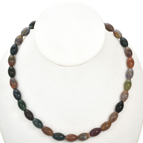 8mm by 13mm Ocean Agate Beads 16 inch Strand