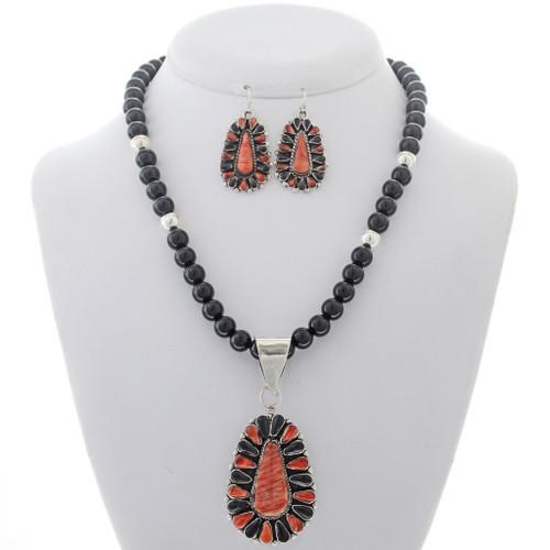 Spiny Oyster Onyx Pendant Bead Necklace Set 27980