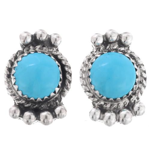 Kingman Turquoise Silver Navajo Earrings 27402