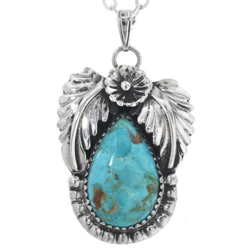 Turquoise Silver Native American Pendant 29438