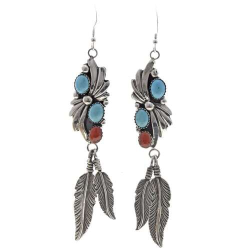 Natural Turquoise Coral Drop Earrings 26213
