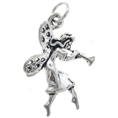 Sterling Silver Fairy & Trumpet Charm Bracelet Charm Pendant Necklace