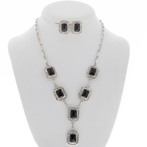 Black Onyx Silver Y Necklace Set 27860