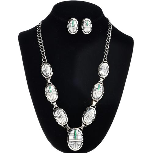 Crazy Horse Opal Inlaid Silver Y Necklace Set 29625