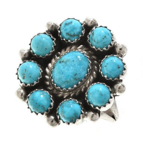Native American Turquoise Cluster Ring 27688