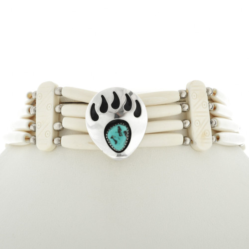 Turquoise Silver Bear Paw Choker 15243