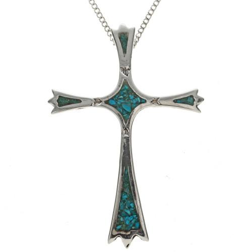 Inlaid Navajo Turquoise Cross Pendant 28513