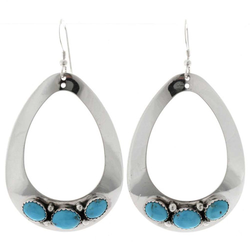 Navajo Turquoise French Hook Earrings 27498