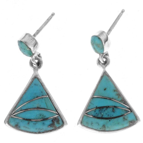 Zuni Turquoise Dangle Earrings 25214