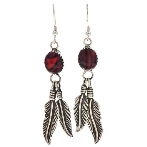 Red Paua Shell Dangle Earrings 29407