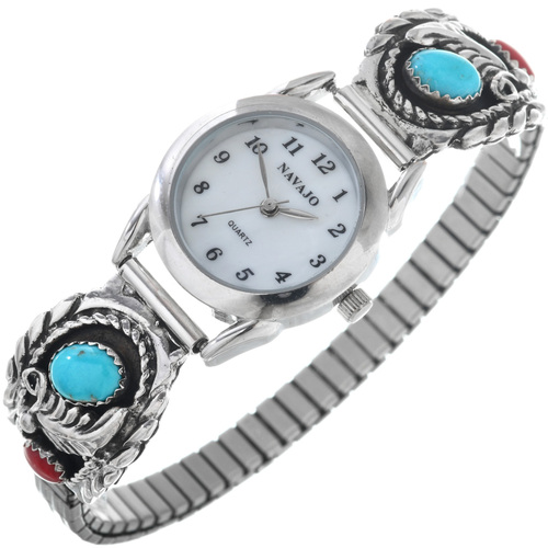 Native American Turquoise Coral Watch 24504