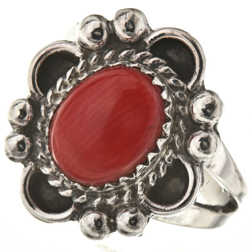 Oxblood Coral Silver Ladies Ring 28599