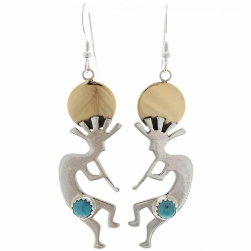 Turquoise Silver Gold Kokopelli Earrings 27463