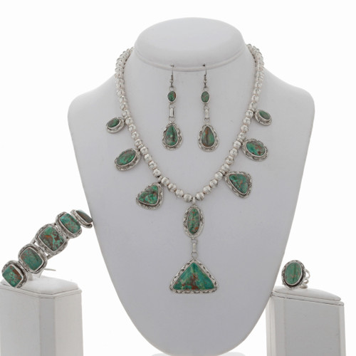 Navajo Style Green Turquoise Jewelry Set 26817