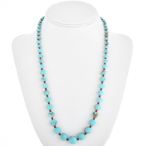 Turquoise Coral Navajo Beaded Necklace 29265