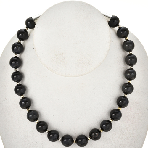 Blue Tigers Eye Silver Bead Necklace 29495