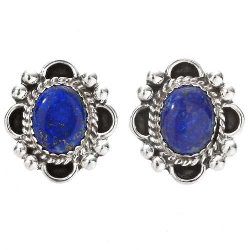 Navajo Lapis Silver Post Earrings 29516