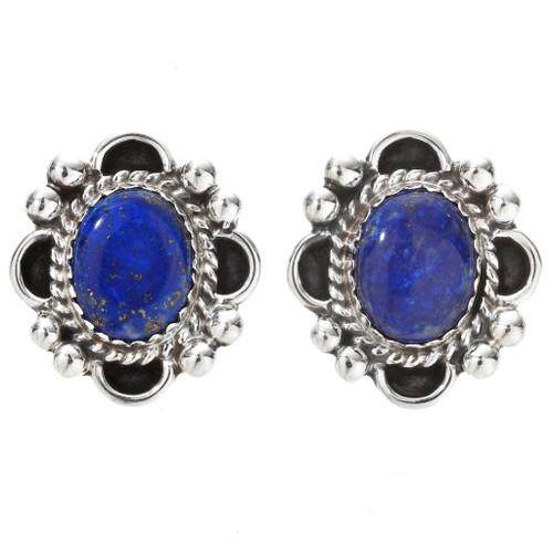 Navajo Lapis Silver Post Earrings 29516