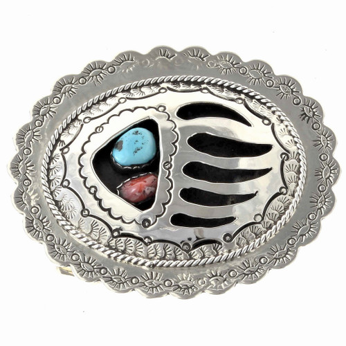 Turquoise Coral Shadowbox Belt Buckle 24736