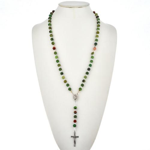 Navajo Jade Agate Bead Rosary Necklace 21562