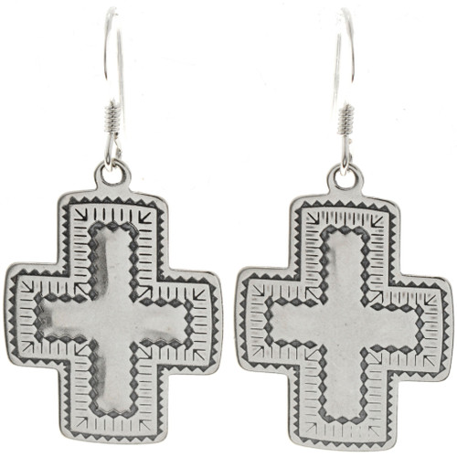 Navajo Silver Cross Earrings 23644