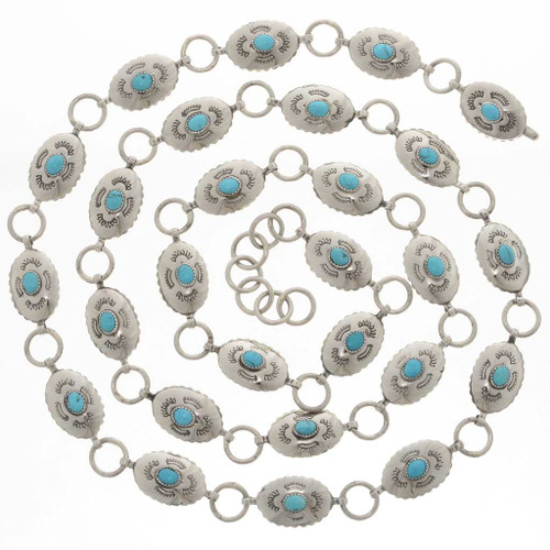 Turquoise Silver Link Concho Belt 25821