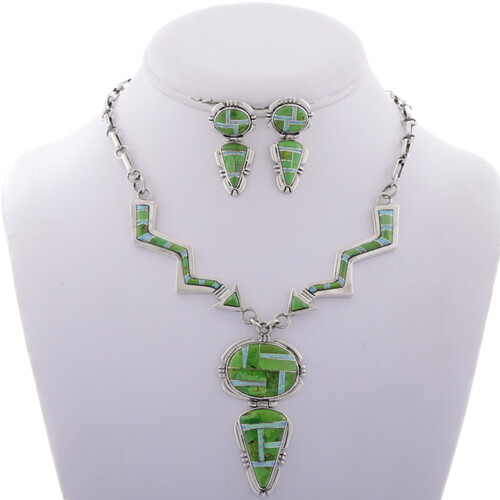Inlaid Gaspeite Opal Arrow Necklace Set 28000