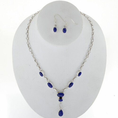 Lapis Silver Y Necklace Set 27702