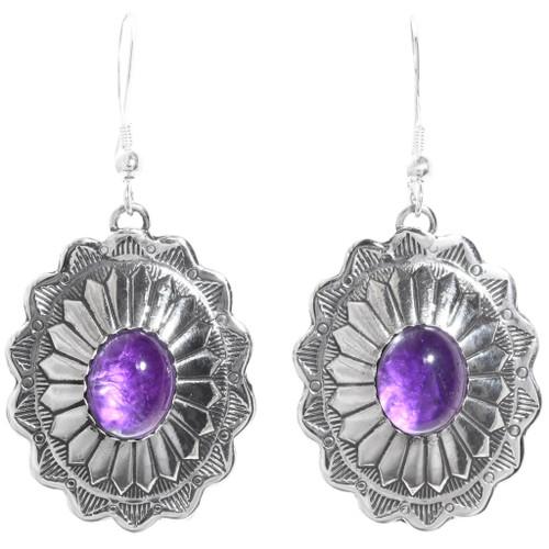 Amethyst Silver Concho Earrings 28935