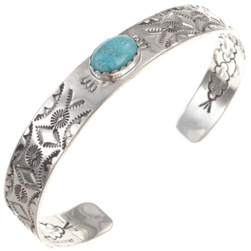 Handhammered Turquoise Cuff Bracelet 23549