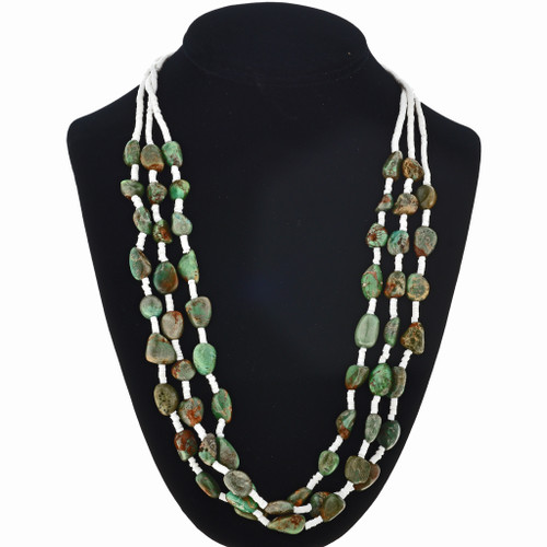 Navajo Turquoise Clamshell Heishi Necklace 29542