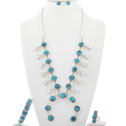Turquoise Squash Blossom Necklace Set 27878