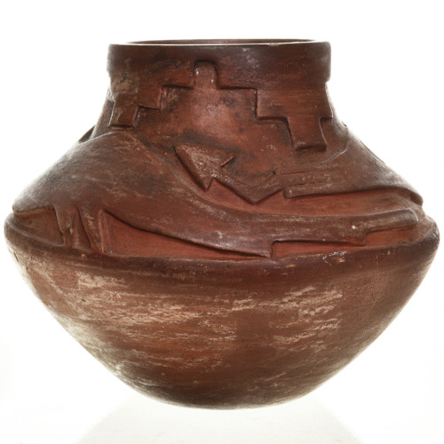Water Serpent Redware Incised Pottery