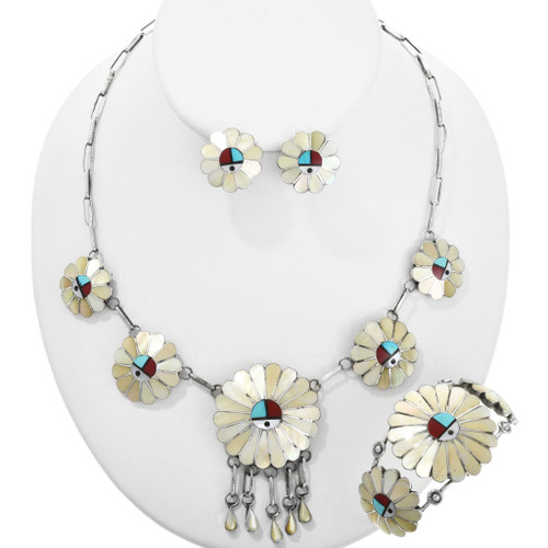 Sunface Turquoise Shell Necklace Set 29123